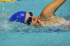 Swimmer Doing A Freestyle Stroke Stock Photos
