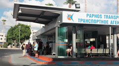 Kato Paphos Main Bus Station near Harbour. Cyprus Stock Footage