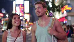 People in New York - happy couple on Times Square - stock footage