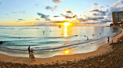 Beach Time Lapse Waikiki Sunset Stock Footage