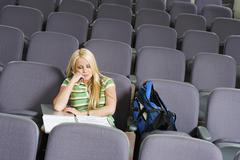 Student Sleeping In Lecture Room Stock Photos