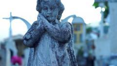 Praying Angel Statue Stock Footage