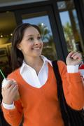 Woman Holding Ice-Cream Cup Stock Photos