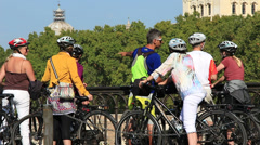 Guided cycle tour of Rome 4 Stock Footage