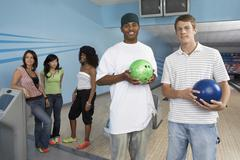 Group Of Friends At Bowling Alley - stock photo
