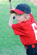 little league baseball boy portrait - stock photo