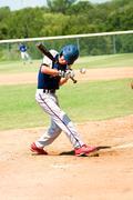 teen baseball boy at bat - stock photo