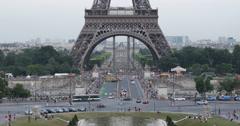Ultra HD 4K Aerial View Paris Eiffel Tower Pont d'Iena Car Traffic Busy Rush - stock footage