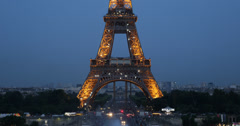 Ultra HD 4K Illuminated Night Aerial View Eiffel Tower Paris City Pont d'Iena - stock footage