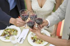 Friends Toasting Wine At Dinning Table - stock photo