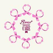 Breast cancer awareness ribbon women hands circle shape. Stock Illustration