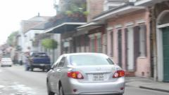 New Orleans Street with Car Pan Left Stock Footage
