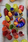 artisanal pottery from the provence - stock photo