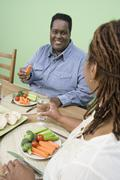 Couple Having Healthy Food Together - stock photo