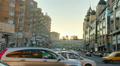 Dusk city traffic jam, street vehicles cars stuck time lapse Footage