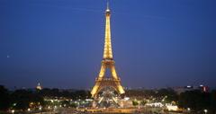 Ultra HD 4K Night Aerial View Eiffel Tower Paris City Overlook Pont d'Iena - stock footage