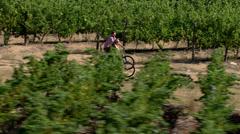 A couple cycling through a vineyard Stock Footage