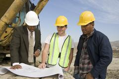 Engineer Workers In Discussion At Site Stock Photos
