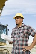 Foreman With Blueprint At Site Stock Photos