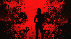 Sexy girl silhouette red, vj background Stock Footage