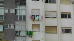 Hanging Clothes in Window South Europe 1 Stock Footage