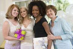 Bride With Her Friends And Mother At Hen Party - stock photo