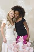 Bride And Friend At Hen Party - stock photo