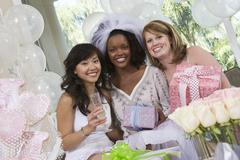 Multi Ethnic Friends Celebrating Hen Party - stock photo