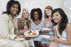 Woman Celebrating Bridal Shower With Friends - stock photo