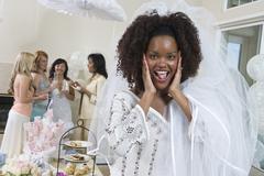 Portrait Of Surprised Bride - stock photo