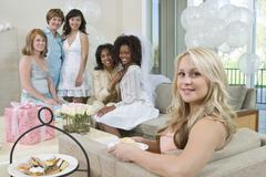 Group Smiling At Hen Party - stock photo