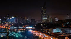 Timelapse Kuala Lumpur Night Construction And Light Trails. Panning Motion Stock Footage