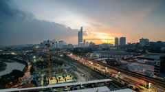 Timelapse Kuala Lumpur Sunset And Light Trails - Static Stock Footage