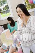 Surprised Woman Receiving Baby Shower Carriage Stock Photos