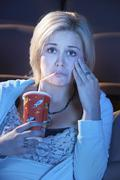 Woman Watching Emotional Movie Stock Photos