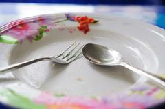 Empty dish after completed meal Stock Photos