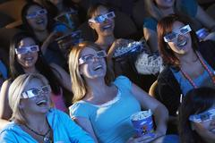 Women Watching 3D Movie In Theater Stock Photos