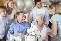 Family Celebrating 25Th Anniversary Stock Photos