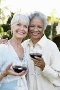 Senior Friends With Wine Glasses Outdoors - stock photo