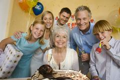 Family Celebrating Retirement Party - stock photo