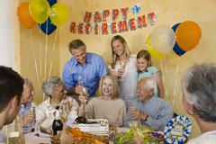 Senior Couple Celebrating Retirement Party Stock Photos