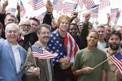 Men With American Flag Stock Photos