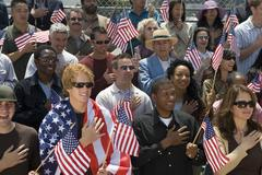 Group Of People Singing American National Anthem - stock photo