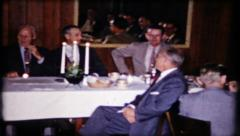 568 - manager give speech at business lunch - vintage film home movie Stock Footage