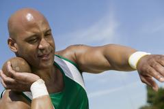 Athlete Ready To Throw Shot Put - stock photo