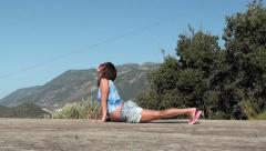 Yoga for pregnant cobra asana and triangle Stock Footage