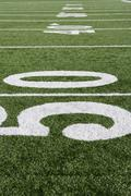50 Yard Line On Football Field - stock photo