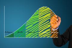 businessman write  graph - stock illustration