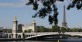 Ultra HD 4K Paris Skyline Eiffel Tower Golden Statues Alexander III Bridge Pont Footage