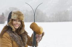 Stock Photo of Woman With Ice Ski